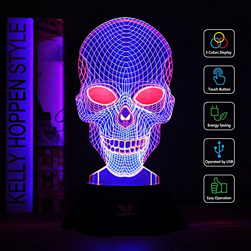 3D Night Light, SAVFY 3 Color LED Desk Lamp with USB Powered Halloween Christmas Gifts Kids Children Family Home Office Childrenroom Theme Decoration(Skull)