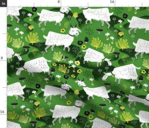 Spoonflower Goat Fabric - Goat Green White Black Farm Animals Nature Nursery Baby Goat Farm Alpine Retro Floral Farm by Andrea Lauren Printed on Petal Signature Cotton Fabric by The Yard