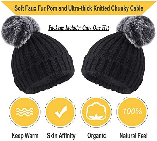 Willow Green First Frost Folded Brim Beanie Double Faux Fur Pom