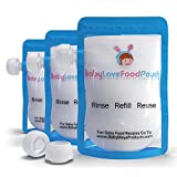 reusable baby food pouch 7 oz - 8 Reusable Baby Food Pouches-Refillable Bags for Homemade Food-Babies Toddlers Kids Freezer Dishwasher Safe