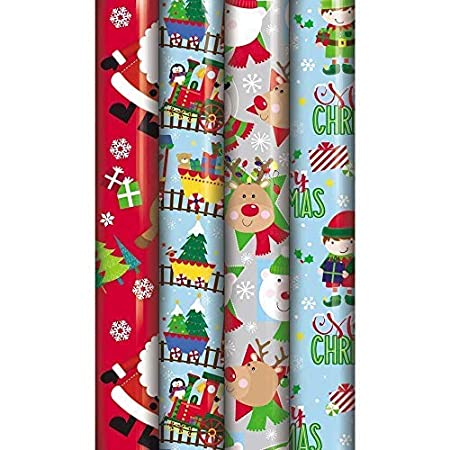 Pack de 4 Navidad - papel de regalo (8 M rollos de papel de ...