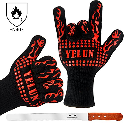 YELUN BBQ Grilling Gloves - 932°F Extreme Heat Resistant Oven Mitts with 100% Cotton Lining - EN407 Certified Protective Grill Gloves Barbecue Gloves Oven Gloves Kitchen Gloves - Set of 2 (RED No.3) (Oven And Grill Gloves compare prices)