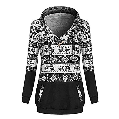 Clearance Womens Christmas Hoodies Colorblock Geometric Sweatshirts with Pockets(Black, -