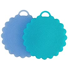 Food-grade Antibacterial Silicone Non Stick Dishwashing Brush Sponge Dish Towel Scrubber For Kitchen Wash Pot Pan Dish Bowl / Wash Fruit and Vegetable (Blue+Sky Blue)