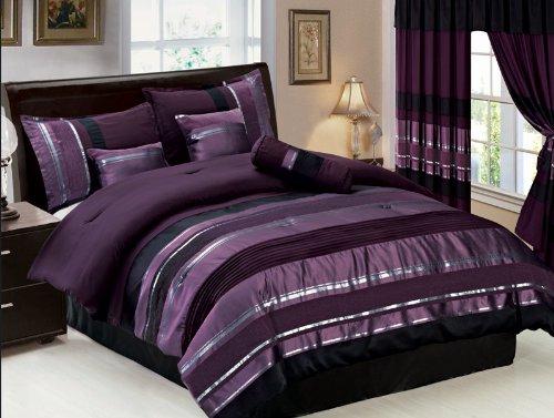 7 pc modern purple black silver chenille comforter set - Purple and black bedding sets ...