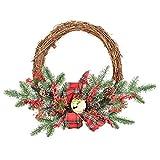 Meiyum Bowknot Bell Wreath, Artificial Christmas