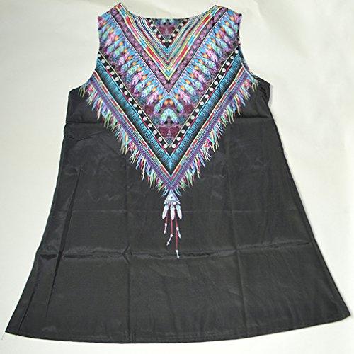 Redondo de Negro13 las la Sin Mangas Vestido la Verano de de Vendimia Impresión Honghu Cuello Mujeres del 1qOp8w