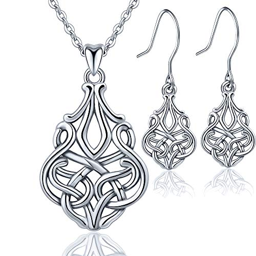 (INFUSEU 925 Sterling Silver Celtic Infinity Eternity Knot Jewelry set, Women Talisman Necklace & Earrings)