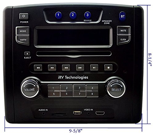 iRV Technology IRV34 Am/FM/CD/DVD/USB Rv Radio Stereo 3 Zones Wallmount Receiver 2.1 Channels Surround, 5″