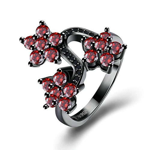Aooaz Womens Gold Plated Ring 3 Flower Red Size 7 Eternity Promise Rings Wedding Bands Emerald Vvs2 Ring