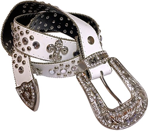 Belt Fleur White Buckle Lis De - Isabella's Journey Belt It Out Studded Rhinestone Belt S/M Fits 30-36