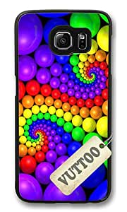 Samsung S6 Case,VUTTOO Cover With Photo: Ball Spiral Colorful Design Creative For Samsung Galaxy S6 - PC Black Hard Case