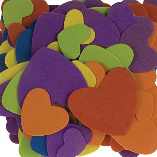 i-mondi® Corazones de goma EVA en 3 tamaños para manualidades colores surtidos 120 piezas autoadhesivas