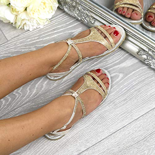 Size Rhinestone Bar Ajvani Sandals T Gold Women Flat Strappy qP0R4U