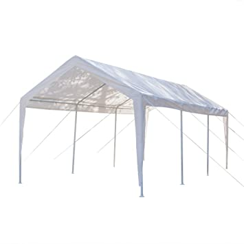 Lykos Cobertizo para coche de 10 x 20 pulgadas, con tubos de 8 pies, color blanco: Amazon.es: Jardín