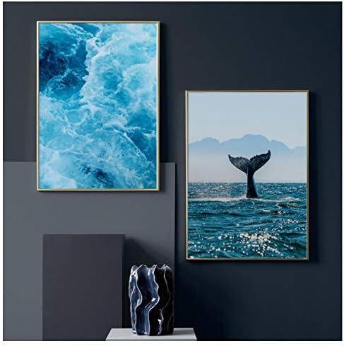 青い海の波クジラ壁アートキャンバス絵画北欧ポスターやプリント壁の写真リビングルームの装飾-50X70Cmx2個フレームレス