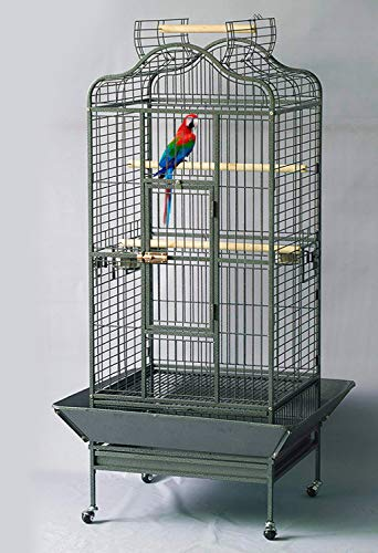 - Homey Pet L24 xW22 xH61 Large Parrot Cage, Open Playtop, Black Hammer Spray