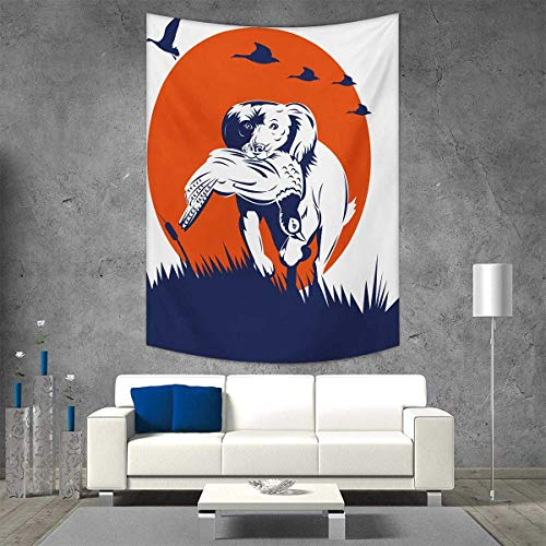 smallbeefly Hunting Beach Throw Blanket Cocker Spaniel Breed Dog Retrieving The Pheasant Flying Ducks at Sunset Vertical Version Tapestry 60W x 91L INCH Dark Blue Orange White
