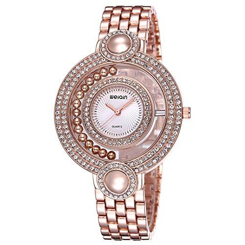 Gold Tone Dress Watch Dial (Astarsport Ladies Gold Watch Fashion Bead Rhinestone Round Dial Analog Quartz Dress Bangle Bracelet Watches Women Wateroroof Wristwatch Rose Gold-Tone White)