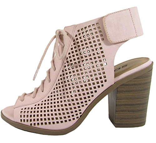 Pink Bootie Toe Soda Lace Perforated Stacked Women's Chunky up Heel Peep zqvfq