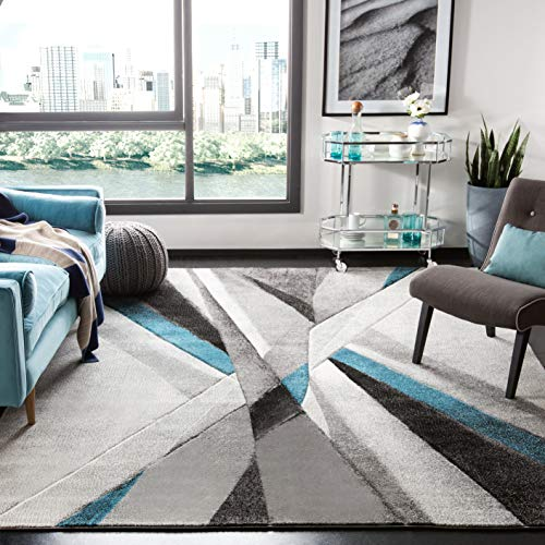 Safavieh Hollywood Collection HLW710D Grey and Teal MidCentury Modern Abstract Area Rug 5#0393quot x 7#0396quot