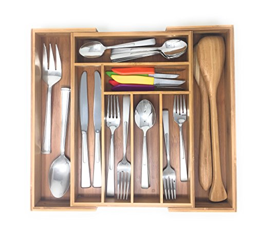 Brightways Home Expandable Bamboo Kitchen Drawer Organizer- Use As a Cutlery Tray-Utensil Organizer-And Flatware Organizer Expandable Drawer Organizer Trays
