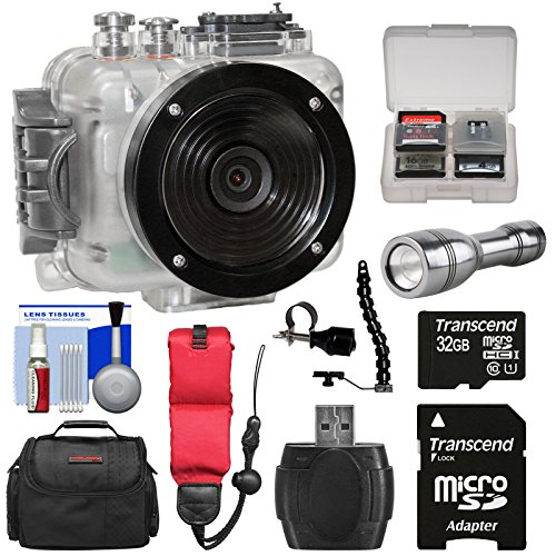 Intova Connex 1080p HD Waterproof Video Action Camera Camcorder (200 ft/ 60m) with 32GB Card + Case + Floating Strap + LED Torch + Bracket + Kit (Torch Intova)