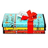 Seattle Chocolate Candy Bars Gift Set- All Natural, Non GMO, Gluten Free, Kosher Certified- 2.5 Ounce Dark & White Milk Chocolate Truffle Bars - Fun Doodles & Festive Phrases Wrapping- Pack Of 3