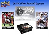 2011 Upper Deck NCAA College Football Legends Factory Sealed Pack of 5 cards Find Autographs of some of the most immortal players to ever suit up in College Football including: Troy Aikman Drew Brees John Elway Bo Jackson Adrian Peterson Paul Hornung Dan Marino Brian Bosworth Barry Sanders Gale Sayers Herschel Walker Todd Marinovich John Cappelletti and Steve Young