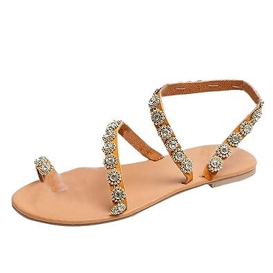 9b2e016205ea14 Modaworld Sandales Plates Femmes, Chaussures de Ville Été à Style Tressée  Perles Tongs Nu Pieds