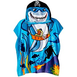 Northpoint Pirate Shark Kids Hooded Beach Towel, 24 x 48 Inch