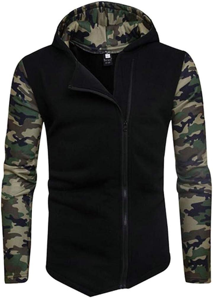 Pcutrone Mens Comfort Raglan Sleeve Cargo Irregular Oblique Zipper Hooded Sweatshirts