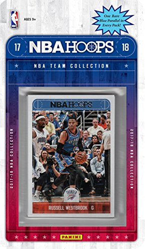 Oklahoma City Thunder 2017 2018 Hoops Basketball NBA Licensed Factory Sealed 8 Card Team Set with Russell Westbrook, Carmelo Anthony, Paul George plus