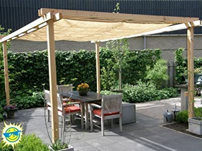 Shatex 12ftx18ft 90% UV Block Outdoor Sunscreen Shade Panel, Patio/Window/RV Awning,Taped Edge with Grommet, Golden Wheat from Shatex