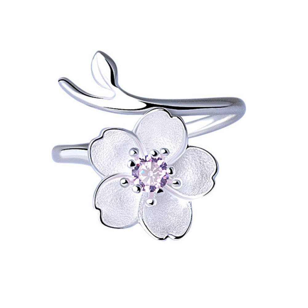 ISAACSONG.DESIGN 925 Sterling Silver Flower, Love Heart, Cat Charm with Crystal Adjustable Stacking Ring for Women and Girls Teardrop INC.