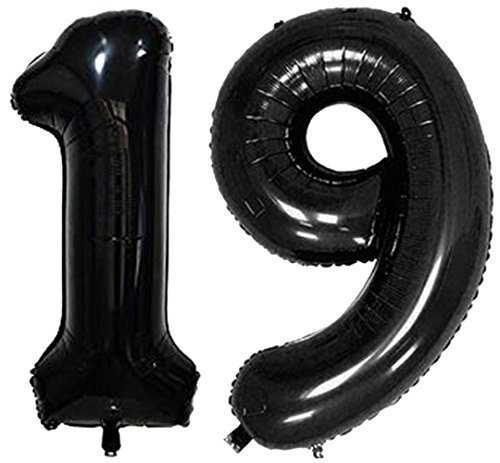 ZiYan 40 Inch Giant 19th Black Number Balloons,Birthday/Party