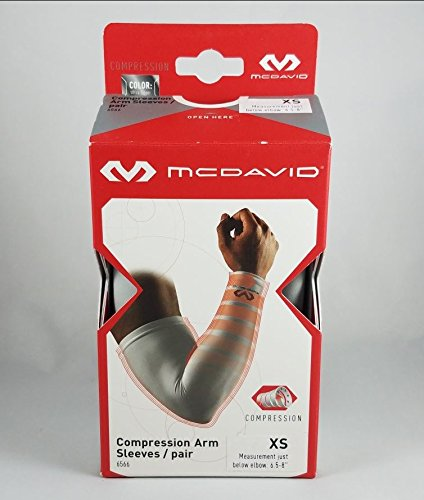 (McDavid Compression Arm Sleeves (Pair), Ultra Silver, X-Small )