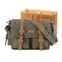 Plambag DSLR Camera Shoulder Bag Canvas PU Leather Messenger Bag (Green)