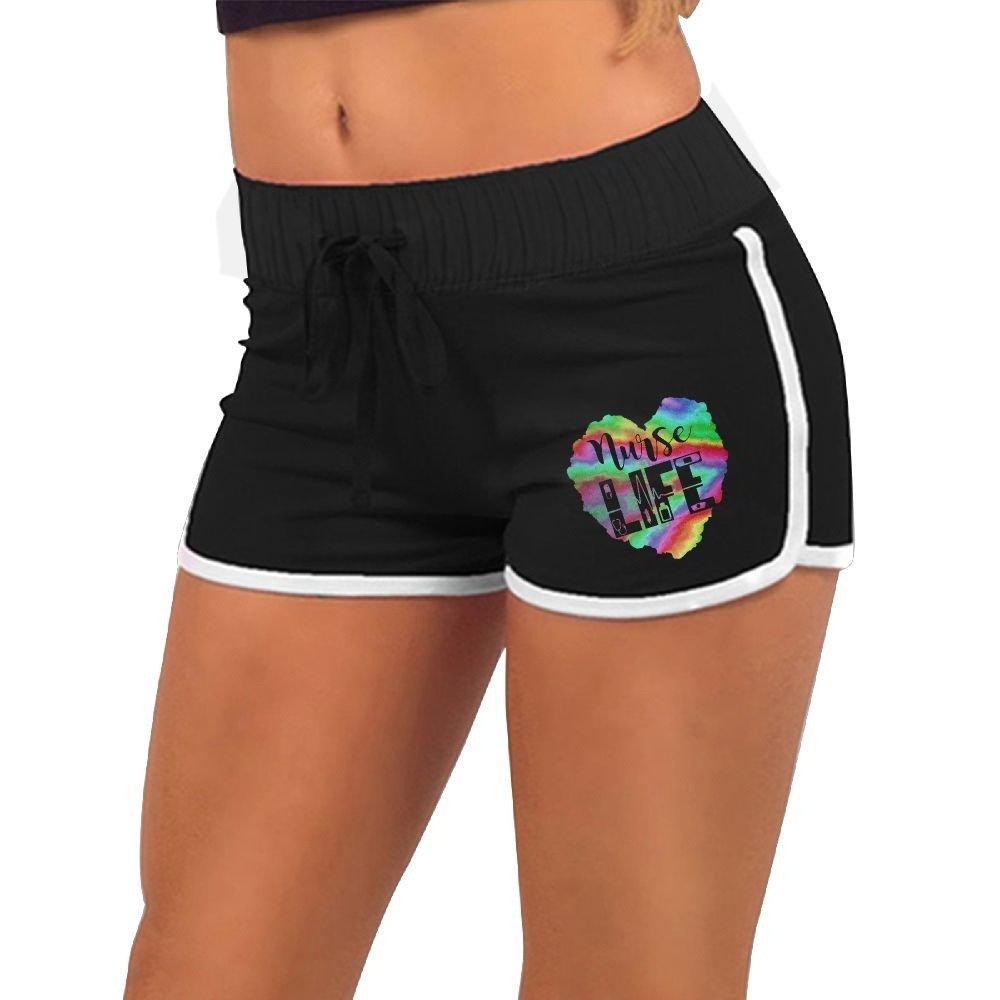 Baujqnhot Pastel Nurse Life Love Heart Girls Comfort Waist Workout Running Shorts Pants Yoga Shorts