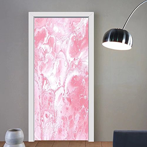 Gzhihine custom made 3d door stickers Marble Pastel Toned Hazy Colors in Fluid Pattern Brushstroke Watercolor Style Display Light Pink White For Room Decor 30x79 (Display Watercolor)