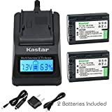 Kastar Fast Charger + Battery 2 Pack for Sony NP-FH50 NP-FH40 NP-FH30 Sony DSLR-A230 DSLR-A330 DSLR-A290 DSLR-A380 DSLR-A390 HDR-TG1E HDR-TG3 HDR-TG5 HDR-TG7 DSC-HX1 DSC-HX200 DSC-HX100V