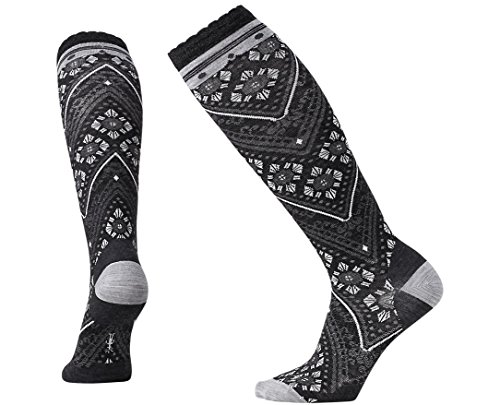 Smartwool Women's Lingering Lace Knee High Socks (Charcoal Heather) Small Photo #1