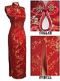 Thytas Black-Red Traditional Chinese Dress Women's Satin Long Halter Cheongsam Qipao Mujere Vestido Flower