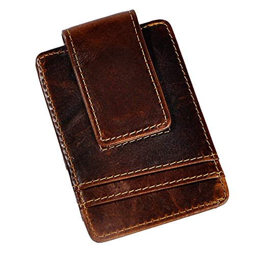 Le'aokuu Genuine Leather Magnet Money Clip Credit Card Case Holder Slim Handy Wallet (Small Size W1058 Coffee) Dollar Coin Money Clip
