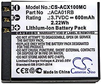 Amazon Com Cameron Sino 600mah Li Polymer Rechargeable Battery Activeon Aca01rb Replacement For Activeon Cx Cx Hd Cx Gold Camera Photo