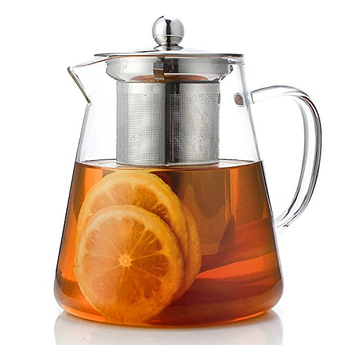 Teocera Glass Tea Pot - High Borosilicate Teapot with 304 Stainless Steel Infuser, Perfect for Loose Leaf Tea, Flower Tea, Tea Bag. (For Tea Bags Teapot)