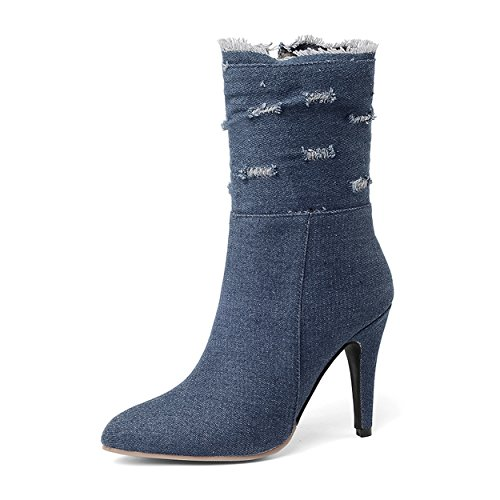 SNIDEL Ankle Boots for Women Denim Patchwork Sexy High Heeled Fashion Zipper Jeans Booties Dark Blue 8.5 B (M) US ()