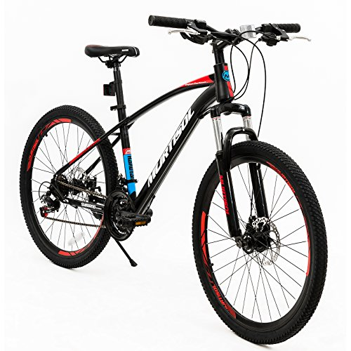 Murtisol Mountain Bike Men's and Women's Bike Fast Speed 26'' 21 Speed Hybrid Bicycle Steel Frame Commuter Bike,Red Black (Bike Specialized Hybrid)