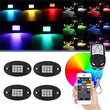 DC 12V XLANJINGJ RGB LED Rock Lights with Bluetooth Wireless Remote Controllers,4 Pods Multicolor Neon Underglow Waterproof Music Lighting Kit for Jeep Off Road Truck Car ATV SUV Motorcycle
