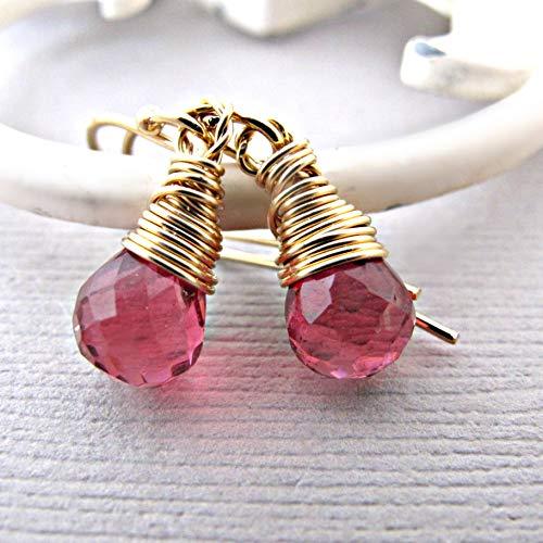 Ruby Earrings, Ruby Quartz Earrings - July Birthstone Earrings - Ruby Red Drop Earrings - Ruby Dangle Earrings - Ruby jewelry, Jewellery - Red Earrings, handmade jewelry, 14kt gold fill ()